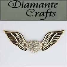 3d Alas de ángel y corazón de oro de aleación incrustado claro Diamantes Decoden 3cb2013