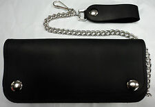 "7 1/2"" American Made Leather Trucker/Biker Chain Drive Wallet with Silver Snaps"