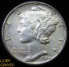 1944-P Winged Head Liberty Mercury Dime Uncirculated 10c Philadelphia Old Coin