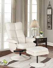 Kings Brand Furniture Cream White Recliner Swivel Relax Chair with Ottoman