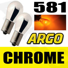 CHROME SILVER AMBER FRONT INDICATOR BULBS 581 BAU15S PY21W TURN SIGNAL PINS 12V