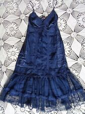 Hale Bob Anthropologie blue victorian lace nouveau Gatsby 20's slip dress XS