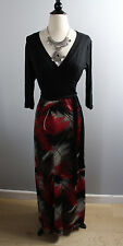 Black Abstract 3/4 Sleeve Faux Wrap Maxi Dress Small