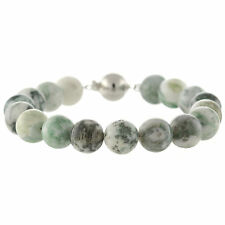 925 Sterling Silver Ball Clasp Bracelet / Natural 10mm Round Tree Agate 7.5""