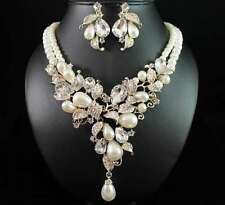 FLORAL PEARL AUSTRIAN RHINESTONE NECKLACE EARRINGS SET BRIDAL PROM N1873G GOLD