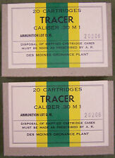 CALIBER.30 M1 TRACER WW2 NEW REPLICA EMPTY 20 ROUND AMMO BOX (2 PCS)- DES MOINES