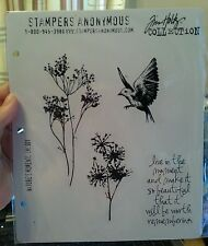NEW Tim Holtz NATURE'S MOMENTS Stampers Anonymous Cling Rubber Stamp BIRD Flower