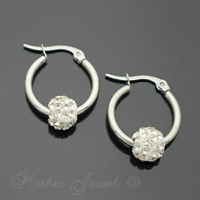 SILVER SURGICAL STEEL 20MM ROUND CIRCLE HOOP HOOPS CLEAR CRYSTAL BALL EARRINGS