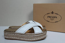 New sz 7 / 37 Prada White Leather Wedge Heel Platform Espadrill Sandal Shoes