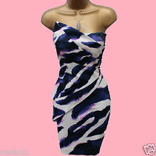 KAREN MILLEN PURPLE WHITE ZEBRA PRINT BODYCON COCKTAIL WIGGLE DRESS 12 UK