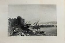 Tortosa-Ruad-Syria-Middle East : c.1840 Antique B/W Print Steel Engraving