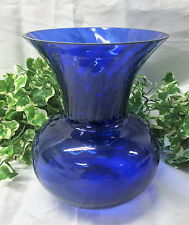 "Beautiful Bristol Blue / Cobalt Blue 7.75"" Swirl Ribbed Effect Art Glass Vase"
