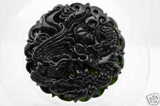 Chinese fine natural nephrite black jade Carving pendant Dragon Phoenix #34
