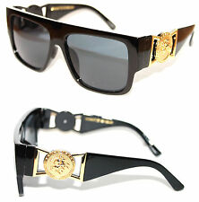 424 Medusa Gold Metal Logo Coin Flat Top Sunglasses Metal Retro Black Hip Hop