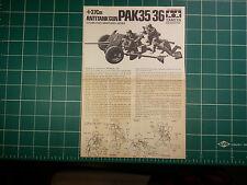 1/35 Tamiya German Pak 35/36 3.7 cm Anti-Tank Gun Instructions,  Kit MM 135