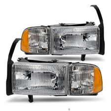 NEW 94-01 DODGE RAM PICKUP W/O SPORT 1500 2500 3500 HEADLIGHTS HEADLAMPS SET