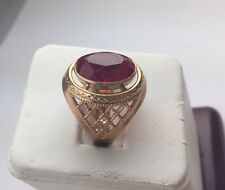 Large Soviet Rose Gold Ring 14K 585  Filigree Ruby USSR Russian