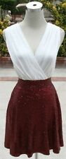 NWT Double Zero Ivory / Burgundy Cocktail Party Dress S