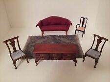 DOLL HOUSE FURNITURE 6 PIECE SET SOFA BUFFET CHAIRS RUG USED GOOD CONDITION