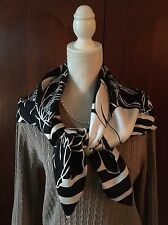 "TALBOTS 35"" x 35"" Silk SCARF Black White Floral & Zebra Stripe New With Tags"