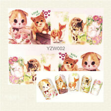1 Sheet Nail Art Water Transfer Decal Cute Cat Design Manicure Sticker YZW002