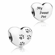 Pandora Silver Paw Print  Heart My Sweet Pet Silver Charm Bead 791262 Dog Cat