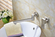 NEW Brushed Nickel Bathroom Basin Faucet Swivel Spout Mixer Tap Wall Mounted