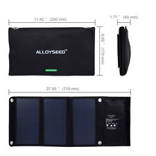 ALLOYSEED 21W 2 MIC Port Solar Charger with SunPower Solar Panel for iPhone HTC