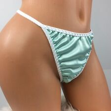 Sissy Super SOFT Shiny V front Thong Satin Stretch WETLOOK panties Blue sz OS
