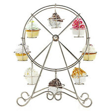 Ferris Wheel 8 Cups Silver Stainless Steel Cupcake Stand Cake Holder Display