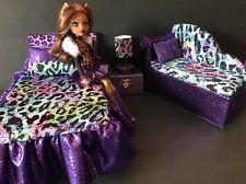 Monster High furniture Bedroom set:Clawdeen Bed,sofa,lamp,wood Box