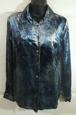 Max & CO Mara Chemises Italy 40 Is 4 Button Down Crushed Velvet Blue Top