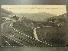 cpa 63 ligne chemin de fer train gare de la sagne route de st sauveur
