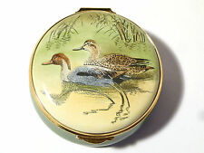 Vintage Staffordshire Enamel Trinket Pill Box PINTAIL DUCKS McPhail, Boxed.  J