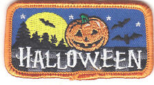 """HALLOWEEN"" PATCH w/BATS, MOON & PUMPKIN-Iron On Embroidered Patch/Holiday,Scary"