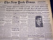 1942 APRIL 15 NEW YORK TIMES - VICHY REINSTATES LAVAL AT NAZI DEMAND - NT 1148