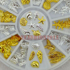 Ocean Life Shell Conch  Feather Starfish Gold Silver Metal Nail Art Decorations
