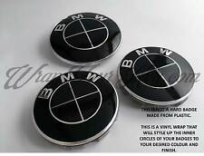 BLACK GLOSS BMW Badge Emblem Overlay Sticker HOOD TRUNK RIMS @ FITS ALL BMW @
