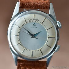 LECOULTRE MEMOVOX STAINLESS STEEL K814 STAR WATCH RARE CASE CREAM SILVER DIAL