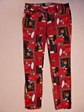 Womens Hot Kiss Skinny rose pattern jeans red flowers SZ 13 / 33 x 29 GUC