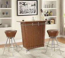 NEW 3PC SANTANA BROWN BYCAST LEATHERETTTE CHROME METAL BAR COUNTER SET w/STOOLS