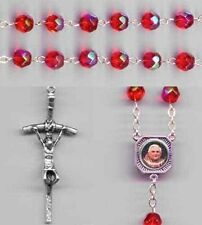 Pope Benedict XVI Resignation Rosary - Crystal Red