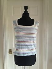 Joules white blue striped sleeveless summer top size L /UK 14 -I combine postage