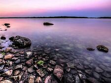 PINK SHORE SEASCAPE BALTIC STONES CALM PHOTO ART PRINT POSTER PICTURE BMP1947A