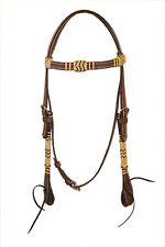 Western Dark Oil Natural/Black Rawhide Braided With Throat Latch Headstall