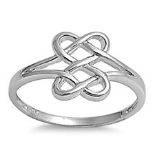 Sterling Silver ring size 7 Celtic Heart Midi Infinity Knot Knuckle New .925 p27