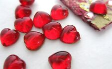Vintage Glass Cabochon Siam Ruby Heart Tiny Red 7mm