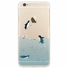 Penguin Hard Back Clear Slim Case Cover for Apple iPhone 5 5s + Screen Protector