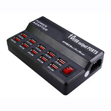 Multi 10 Port USB Fast Charging Charger Station AC Power Adapter Control Home