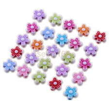 100 pcs 9x4mm Mixed color Acrylic Flower loose Spacer Beads Charms Findings